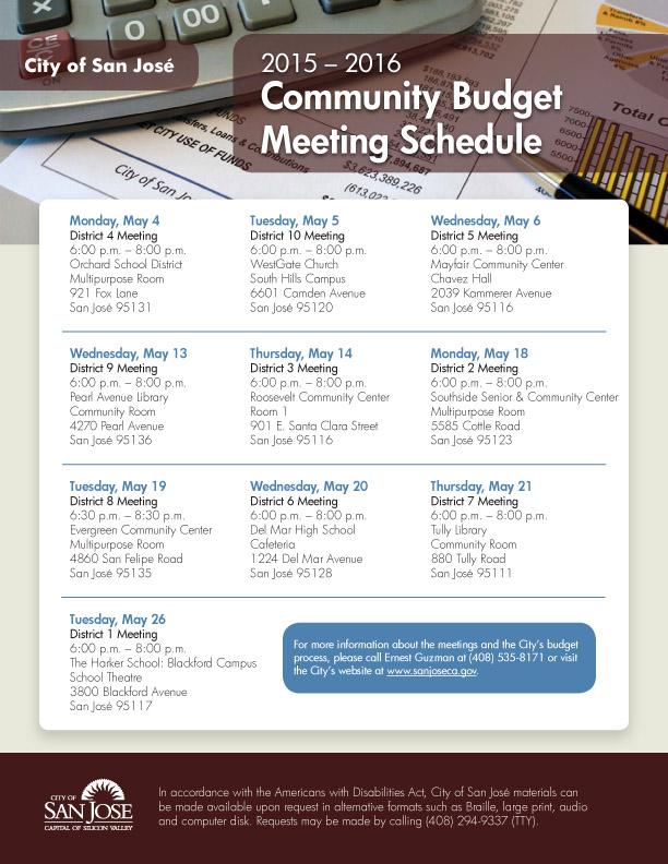 2015-2016 Community Budget Meeting Schedule